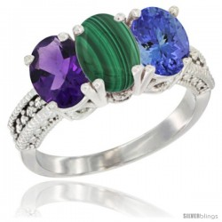 14K White Gold Natural Amethyst, Malachite & Tanzanite Ring 3-Stone 7x5 mm Oval Diamond Accent