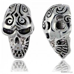 Sterling Silver Tattooed Skull Pendant, 1 1/4 in tall, sizes 9-14