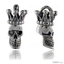 Sterling Silver Crowned Skull Pendant, 1 1/2 in tall, sizes 9-14