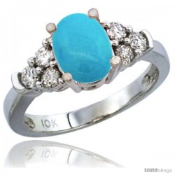 10K White Gold Natural Turquoise Ring Oval 9x7 Stone Diamond Accent