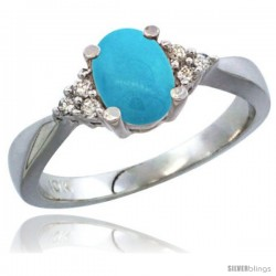 10K White Gold Natural Turquoise Ring Oval 7x5 Stone Diamond Accent -Style Cw918168