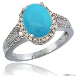 10K White Gold Natural Turquoise Ring Oval 10x8 Stone Diamond Accent