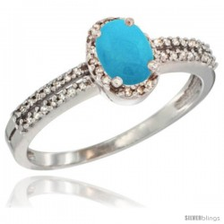 10K White Gold Natural Turquoise Ring Oval 6x4 Stone Diamond Accent -Style Cw918178