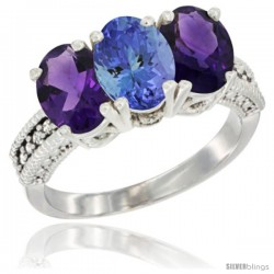 14K White Gold Natural Tanzanite & Amethyst Ring 3-Stone 7x5 mm Oval Diamond Accent