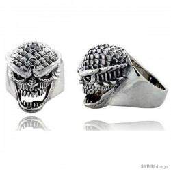 Sterling Silver Scaly Gothic Biker Skull Ring, 1 1/16 in wide