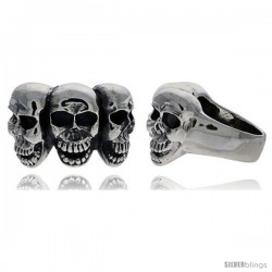 Sterling Silver Triple Gothic Biker Skull Ring, 1 in wide