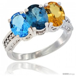 14K White Gold Natural Swiss Blue Topaz, London Blue Topaz & Citrine Ring 3-Stone 7x5 mm Oval Diamond Accent