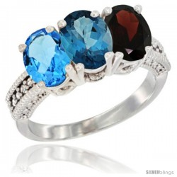 14K White Gold Natural Swiss Blue Topaz, London Blue Topaz & Garnet Ring 3-Stone 7x5 mm Oval Diamond Accent