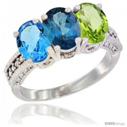 14K White Gold Natural Swiss Blue Topaz, London Blue Topaz & Peridot Ring 3-Stone 7x5 mm Oval Diamond Accent