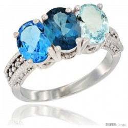 14K White Gold Natural Swiss Blue Topaz, London Blue Topaz & Aquamarine Ring 3-Stone 7x5 mm Oval Diamond Accent