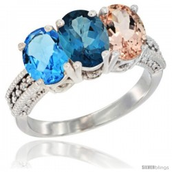 14K White Gold Natural Swiss Blue Topaz, London Blue Topaz & Morganite Ring 3-Stone 7x5 mm Oval Diamond Accent