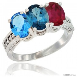 14K White Gold Natural Swiss Blue Topaz, London Blue Topaz & Ruby Ring 3-Stone 7x5 mm Oval Diamond Accent