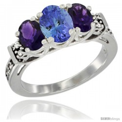 14K White Gold Natural Tanzanite & Amethyst Ring 3-Stone Oval with Diamond Accent