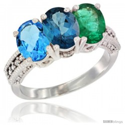 14K White Gold Natural Swiss Blue Topaz, London Blue Topaz & Emerald Ring 3-Stone 7x5 mm Oval Diamond Accent