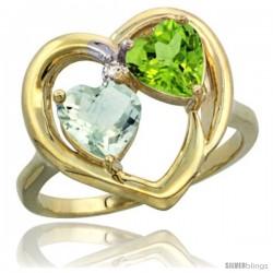 14k Yellow Gold 2-Stone Heart Ring 6mm Natural Green Amethyst & Peridot Diamond Accent, Diamond Accent