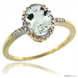 14k Yellow Gold Diamond Green-Amethyst Ring 1.17 ct Oval Stone 8x6 mm, 3/8 in wide