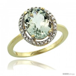 14k Yellow Gold Diamond Green-Amethyst Ring 2.4 ct Oval Stone 10x8 mm, 1/2 in wide -Style Cy402114