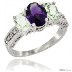 14k White Gold Ladies Oval Natural Amethyst 3-Stone Ring with Green Amethyst Sides Diamond Accent