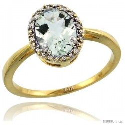 14k Yellow Gold Diamond Halo Green Amethyst Ring 1.2 ct Oval Stone 8x6 mm, 1/2 in wide