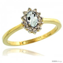 14k Yellow Gold Diamond Halo Green Amethyst Ring 0.25 ct Oval Stone 5x3 mm, 5/16 in wide