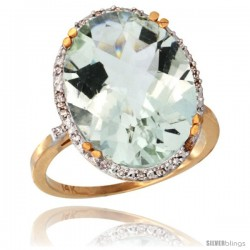 14k Yellow Gold Diamond Halo Large Green Amethyst Ring 10.3 ct Oval Stone 18x13 mm, 3/4 in wide