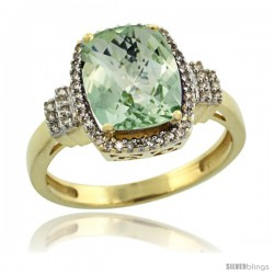 14k Yellow Gold Diamond Halo Green Amethyst Ring 2.4 ct Cushion Cut 9x7 mm, 1/2 in wide