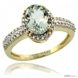 14k Yellow Gold Diamond Halo Green Amethyst Ring 1.2 ct Oval Stone 8x6 mm, 3/8 in wide