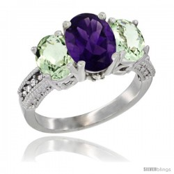 14K White Gold Ladies 3-Stone Oval Natural Amethyst Ring with Green Amethyst Sides Diamond Accent