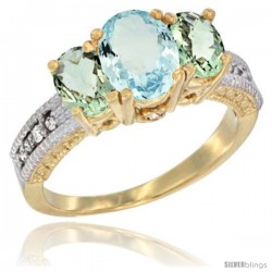 14k Yellow Gold Ladies Oval Natural Aquamarine 3-Stone Ring with Green Amethyst Sides Diamond Accent