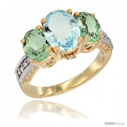 14K Yellow Gold Ladies 3-Stone Oval Natural Aquamarine Ring with Green Amethyst Sides Diamond Accent