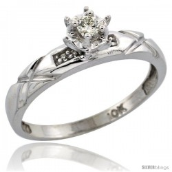 10k White Gold Diamond Engagement Ring, 1/8 in wide