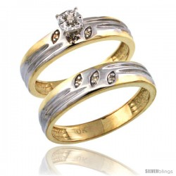 10k Gold 2-Pc Diamond Engagement Ring Set w/ 0.049 Carat Brilliant Cut Diamonds, 5/32 in. (4.5mm) wide