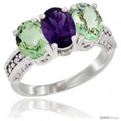 14K White Gold Natural Amethyst & Green Amethyst Ring 3-Stone 7x5 mm Oval Diamond Accent