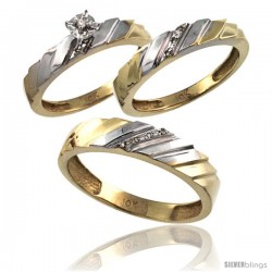 10k Gold 3-Pc. Trio His (5mm) & Hers (4mm) Diamond Wedding Ring Band Set, w/ 0.075 Carat Brilliant Cut Diamonds