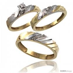 10k Gold 3-Pc. Trio His (5mm) & Hers (4mm) Diamond Wedding Ring Band Set, w/ 0.075 Carat Brilliant Cut Diamonds