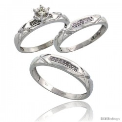 10k White Gold Diamond Trio Wedding Ring Set His 4mm & Hers 3.5mm