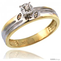 10k Gold Diamond Engagement Ring w/ 0.03 Carat Brilliant Cut Diamonds, 5/32 in. (4.5mm) wide