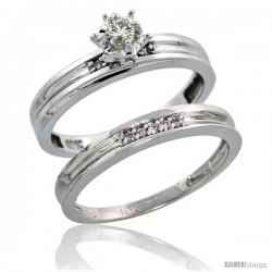 10k White Gold Ladies' 2-Piece Diamond Engagement Wedding Ring Set, 1/8 in wide -Style 10w104e2