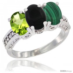 14K White Gold Natural Peridot, Black Onyx & Malachite Ring 3-Stone Oval 7x5 mm Diamond Accent