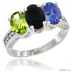 14K White Gold Natural Peridot, Black Onyx & Tanzanite Ring 3-Stone Oval 7x5 mm Diamond Accent