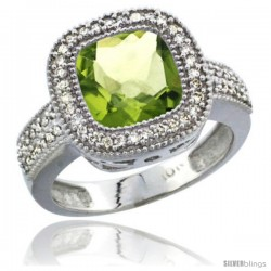 14k White Gold Ladies Natural Peridot Ring Diamond Accent, Cushion-cut 4 ct. 8x8 Stone Diamond Accent