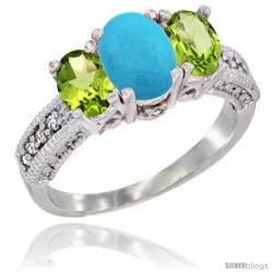 14k White Gold Ladies Oval Natural Turquoise 3-Stone Ring with Peridot Sides Diamond Accent