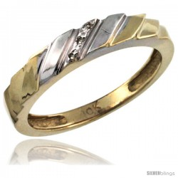 10k Gold Ladies' Diamond Wedding Ring Band, w/ 0.019 Carat Brilliant Cut Diamonds, 5/32 in. (4mm) wide