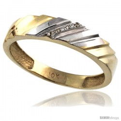 10k Gold Men's Diamond Wedding Ring Band, w/ 0.026 Carat Brilliant Cut Diamonds, 3/16 in. (5mm) wide