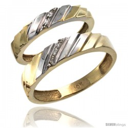 10k Gold 2-Pc His (5mm) & Hers (4mm) Diamond Wedding Ring Band Set w/ 0.045 Carat Brilliant Cut Diamonds