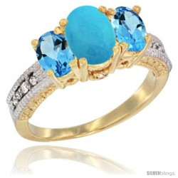 10K Yellow Gold Ladies Oval Natural Turquoise 3-Stone Ring with Swiss Blue Topaz Sides Diamond Accent