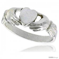Sterling Silver Fenian Claddagh Ring without Crown 1/4 in wide