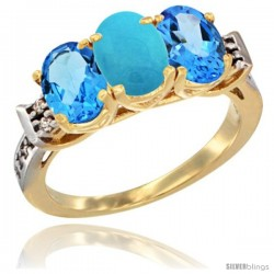 10K Yellow Gold Natural Turquoise & Swiss Blue Topaz Sides Ring 3-Stone Oval 7x5 mm Diamond Accent