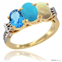 10K Yellow Gold Natural Swiss Blue Topaz, Turquoise & Opal Ring 3-Stone Oval 7x5 mm Diamond Accent