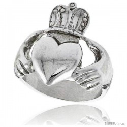 Sterling Silver Large Claddagh Ring 7/8 in wide